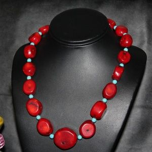 VTG STERLING SILVER BEAD CORAL NECKLACE NS6